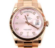 로렉스 로즈골드 핑크판 다이아10P 데이데이트 오이스터 퍼페츄얼 중형 시계 36mm #118235f