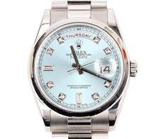 로렉스 플래티늄 아이스블루 다이아10P 데이데이트 오이스터 퍼페츄얼 중형 시계 36mm #118206