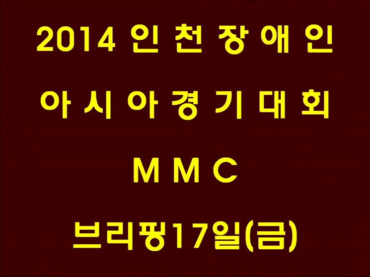 2014 인천장애인 아시아 경기대회 MMC브리핑마치고